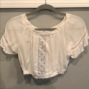 H&M off shoulder top S/SZ2 white lace